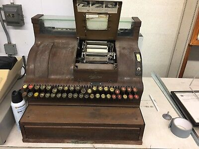 Antique Cash Register- National Brand, Brown, Working Condition