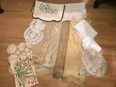Lot Of 16 Pc  Vintage Lace Panels, 2 New. Embroidered Table Runners, Doilies