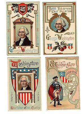 LOT of 6 different GEORGE WASHINGTON Vntg POSTCARDS Early 1900's Embossed Litho