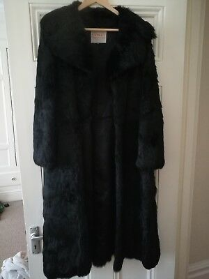 Vintage 1970's black real coney fur coat Full Length size 14