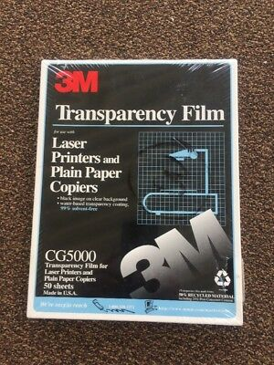 """3M Transparency Film for Laser Printers 50 Sheets 8 1/2 X 11""""  CG5000"""