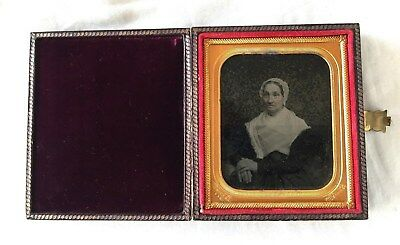 """AMBROTYPE of an ELDERLY WOMAN in a Leatherette BOOK Case COVER. c.1850's """"RARE"""""""