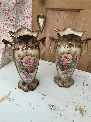 Pair Of Old Antique Decorative Floral Patterned Mantle Vases