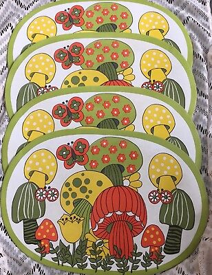 Vintage Retro 1970s MERRY MUSHROOM PLACE MATS MOD JCPenney  Flower Butterfly