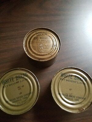 c rations from 1968, chicken noodle soup and 2 white breads