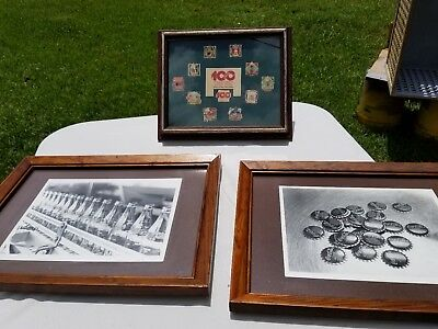 Lot Of 2 Vintage Framed Coke Photos And 1 Coke Pin Collection