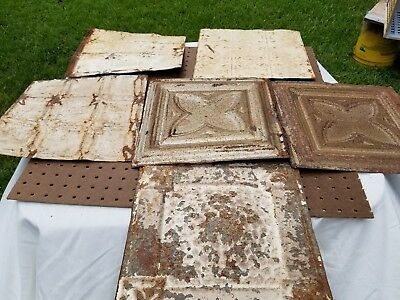 Lot Of 6 Antique Tin Ceiling Tiles