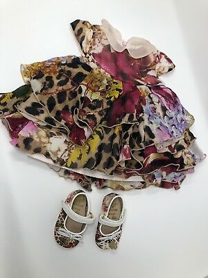 Roberto Cavalli Baby Girl Dress And Shoes 3M