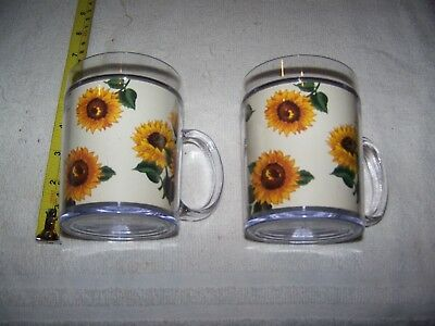 2  Vintage Thermo-Serv Insulated Coffee Mugs Drinking Cups Sun Flowers