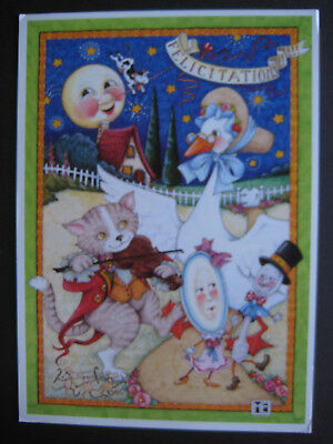 UNUSED 1991 vintage greeting card Mary Engelbreit NEW BABY Hey Diddle Diddle...