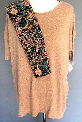 LuLaRoe Fall Outfit Small Irma Heathered Caramel & OS Leggings Floral NWT