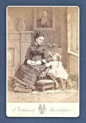 "Vintage CABINET CARD of a MOTHER and Her BOY Child KNITTING. ""Identified"" 1850's"