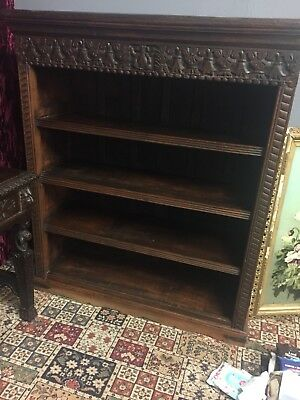 Antique Bookshelf Free standing ,Wide, Solid , Carved , Four Tier ,1900c