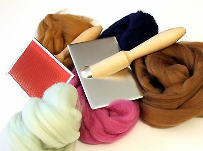 Hand Carders Mini Craft Hand Cards + 100g Fibres Felt making spinning