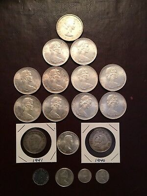 Lot Of 18  Canada Silver Coins