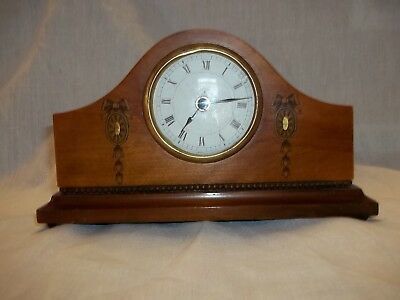antique mantle clock in fruit wood case with beading and front decoration