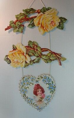 Vtg Victorian hanging  3pc embossed Valentine's Day Card Sweet Girl Roses Daises