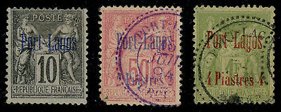 Port-Lagos 1893 10c, 2pi on 50c and 4pi on 1fr all used, some faults but SCARCE