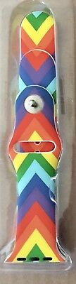 42Mm Apple Watch Band Wristband Strap Soft Silicone Rainbow V Pride New In Box