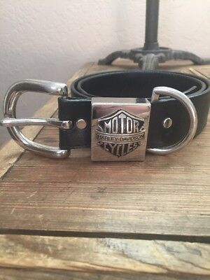 Harley Davidson Motor Cycles Black Belt With Silver Buckle SZ 34