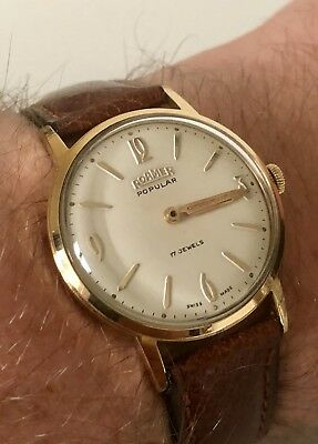 Vintage Mens Swiss Watch. Roamer Popular In Stunning Condition 17J - Gold Plated