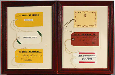 Duke & Duchess of Windsor Luggage Tags from Sotheby's Auction in Pair of Frames