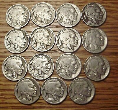 15 different Buffalo Nickels__small collection / set__teens, 20s, 30s