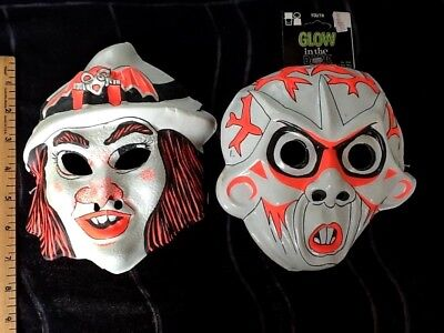 Vintage GLOW IN THE DARK plastic Halloween Masks lot Witch and Space Alien
