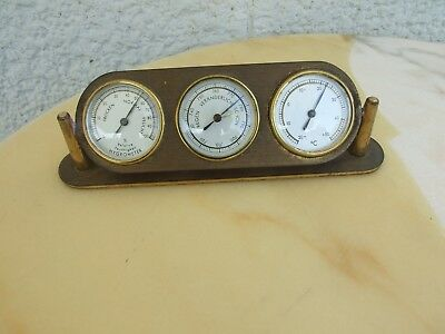 Alte 3 Teilige Wetterstation Aus Messing Thermometer Barometer Hygrometer