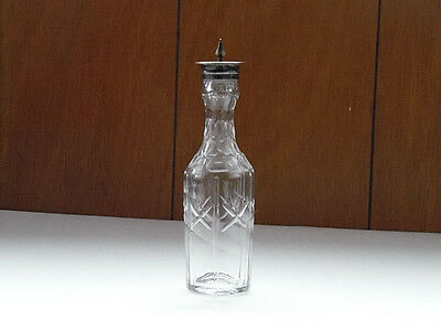 """EAPG Early American Clear Glass Salt Shaker Metal Top 7"""" Tall Antique"""