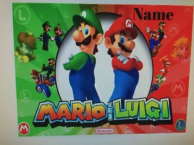 personalised super mario place / dinner mat childrens A4 laminated gift