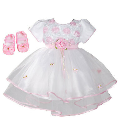Baby Christening Party Dress and Shoes Pink Lilac White 0 3 6 9 12 18 Months