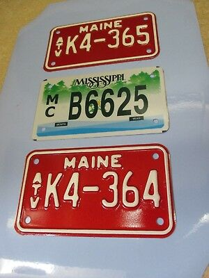 Mississippi  Motorcycle license plate & two Maine 2005 ATV license plates - NEW