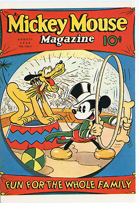 """.MICKEY MOUSE MAGAZINE postcard. VOL 1, # 11. AUG., 1936.  4+"""" BY 6 """".  UNUSED."""