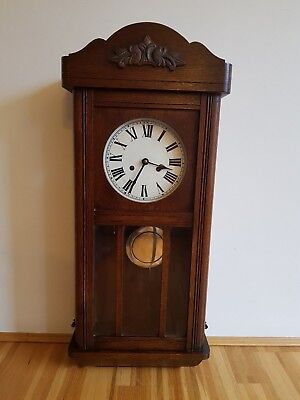 Antique Wooden Pendulum Wall Clock With Hourly & 30 Minute Chimes