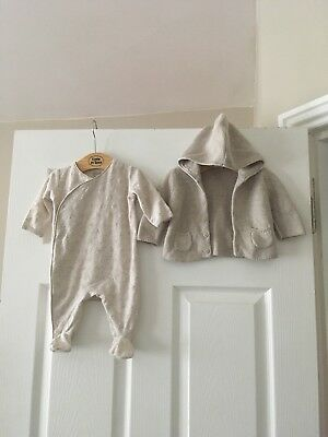 Mamas & papas - Baby Romper / Sleepsuit & Fine Knit Cardigan - 0-3 Months