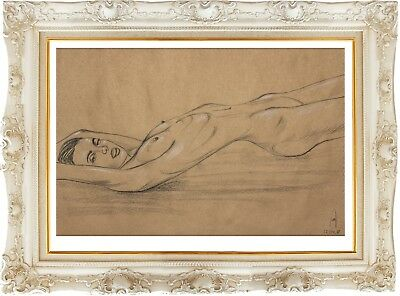 female nude 16IOX original sketch charcoal art naked woman signed nu dessin