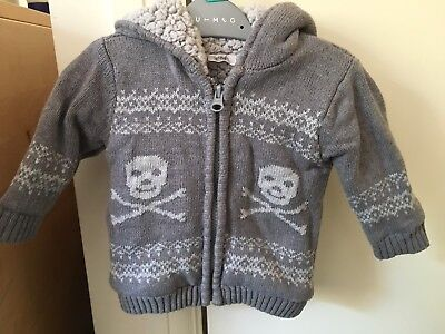 Baby Boys Cardigan Hoodie 0-3 Months, Grey Fleece Skull Knitted Style