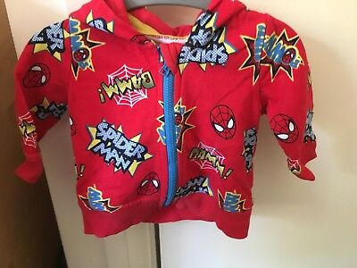 Spider-Man Zipped Hoodie Hoody 0-3 Months Red Blue Baby Boys