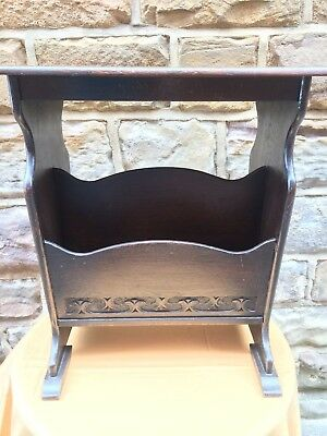 Antique Arts and Crafts Magazine Rack and Side Table