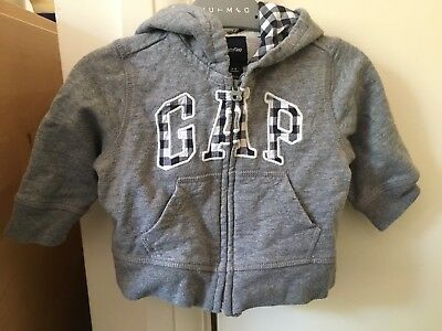 Baby Boys Grey Gap Hoodie Hoody 3-6 Months Zip Check
