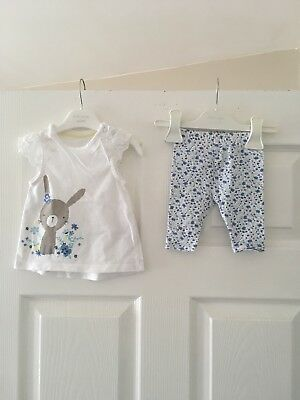 Mothercare - Baby Girls Blue Bunny Top & Leggings Set - Age Upto 1 Mth - Summer