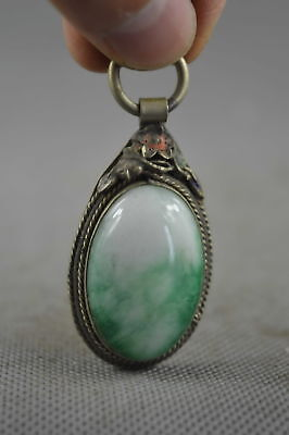 Collectable Handwork Decor Old Miao Silver Carve Noble Flower Inlay Jade Pendant