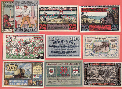 br- Lot 12 German Small Notgeld  Lot Lots 55 Pieces Different . History Themes