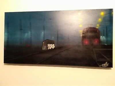 "Graffiti Leinwand/Canvas""jero87"" 30x70 Unikat (Original)  Train in Yard"