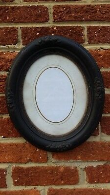 Vintage Ornate Wooded Picture Frame Oval Glass Intact 12x14 inches