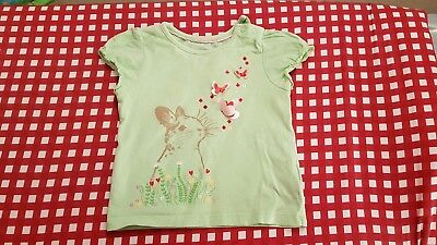 Mothercare Baby Girls Green Bunny/Butterflies Top Age 6-9 Months