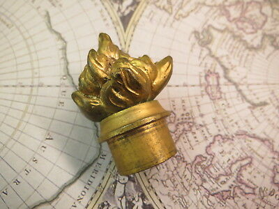 "Antique Vintage Cast Brass 2 3/16"" FLAME Shape Screw On LAMP FINIAL"