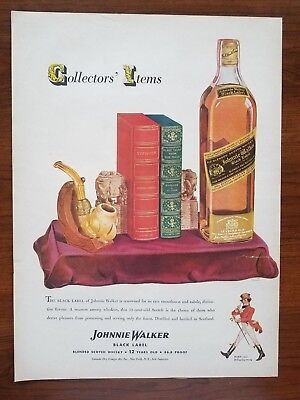 1943 Johnnie Walker Black Label Whisky Art Vintage Print Ad Bar Decor 1940s Pipe
