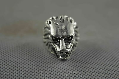 Collectable Handwork Miao Silver Carve Dragon head Ancient Royal Auspicious Ring